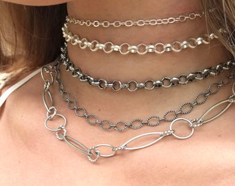 NEW!!! Mix & Match Silver Chain Collar Necklace - Adjustable Choker Necklace - Five Styles