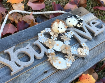 You & Me Handcrafted Reclaimed Wood Sign, Perfect Wedding Bridal Anniversary Gift, Hand-Crafted Natural Wood Art, Burlap Floral, Hedgehog