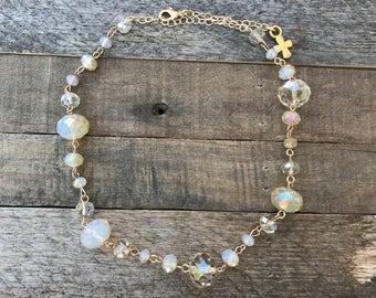 NEW! Champagne Swarovski Crystal Necklace, Adjustable Short Collar/Choker Necklace - Golden Shadow Champagne