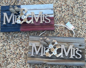 Mr. and Mrs. Lovebirds Reclaimed Wood Sign - Handcrafted by Deborah Lynn, Choose Red birds or natural Birds