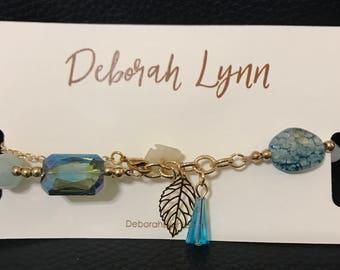 NEW!!! Summer Blues Swarovski Choker Necklace - Asymmetrical Beaded Crystal Gold Necklace - Matching Bracelet & Earrings