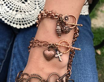 Copper charm bracelets! choose your Chain and charms metal bracelets