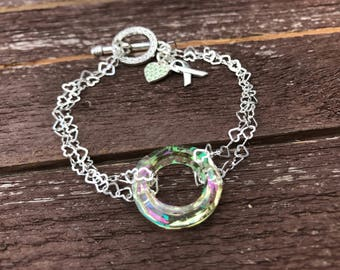 AWARENESS  Circle of Hope Bracelets, Leukemia, lymphoma , Alzheimer's and more! Help fight with prayer! Sterling Silver, 20mm (Large Circle)