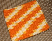 Variegated double-thick crocheted potholder
