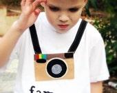 """Kids clothes Instagram Famous - Adorable, """"Instagram Famous"""" kids felt camera shirt"""