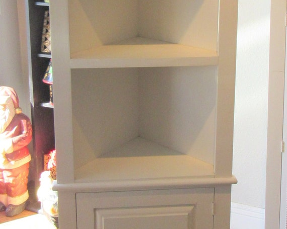 White corner curio cabinet bookshelf