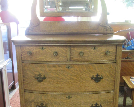 Tiger Oak Highboy Dresser with Mirror
