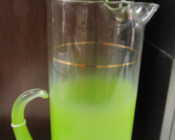 Lime green glass cocktail pitcher