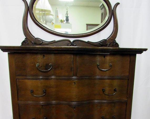 Tiger Oak Highboy dresser with mirror