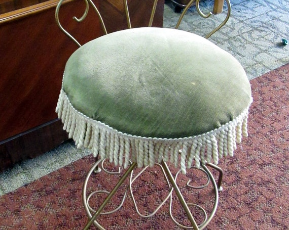 Vanity chair or stool with green cushion