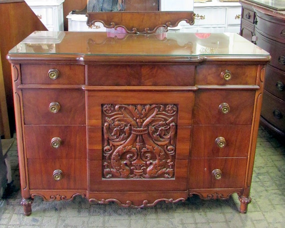 Antique Dresser with Mirror by Angelus Furn Co