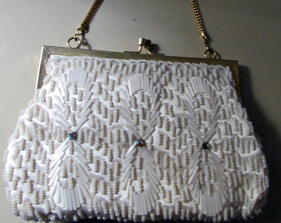 Gold and White Beaded Purse