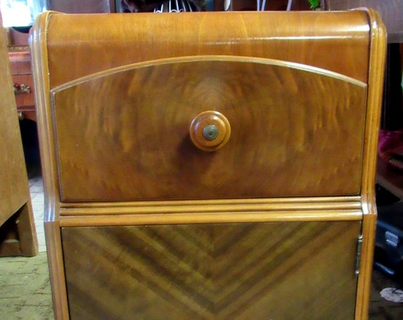 Art Deco Waterfall cabinet end table or night stand
