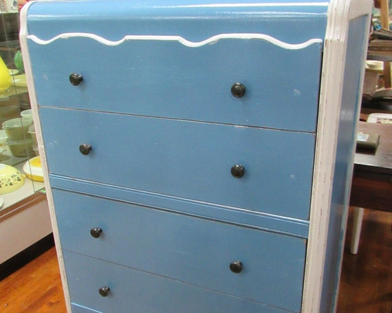Art Deco Waterfall highboy dresser restyled blue and white