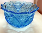 Blue carnival glass bowl
