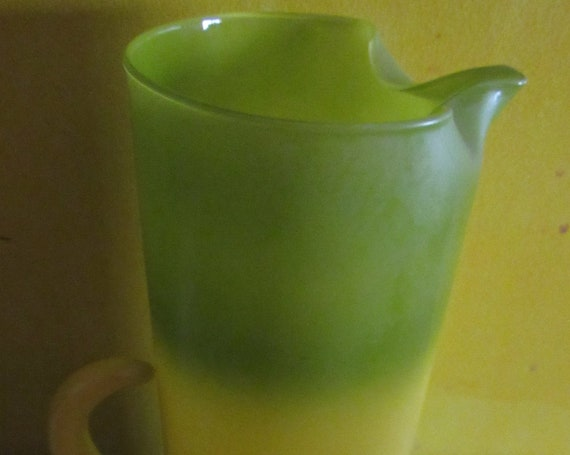 Vintage tall pitcher yellow and green