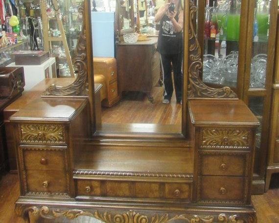 Vanity with bench 1920's gothic romantic style