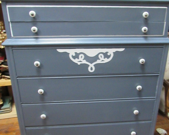Vintage tall dresser painted blue and white
