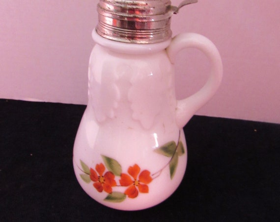 Milk Glass  syrup pitcher with hinged lid