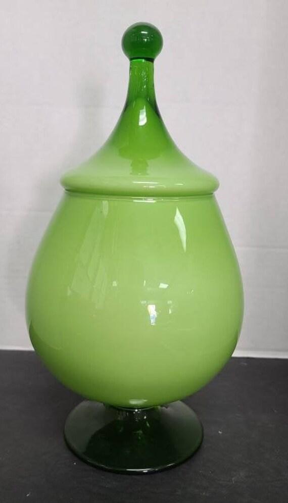 Vintage green candy jar