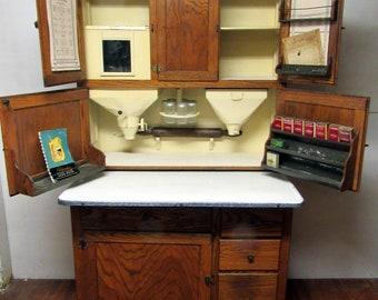 Tiger Oak Hoosier Beauty circa 1920 with flour bin and porcelain work surface & Oak hoosier cabinet | Etsy