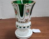Bohemian crystal and green vase