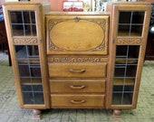 Tiger Oak Side by Side secretary bookcase