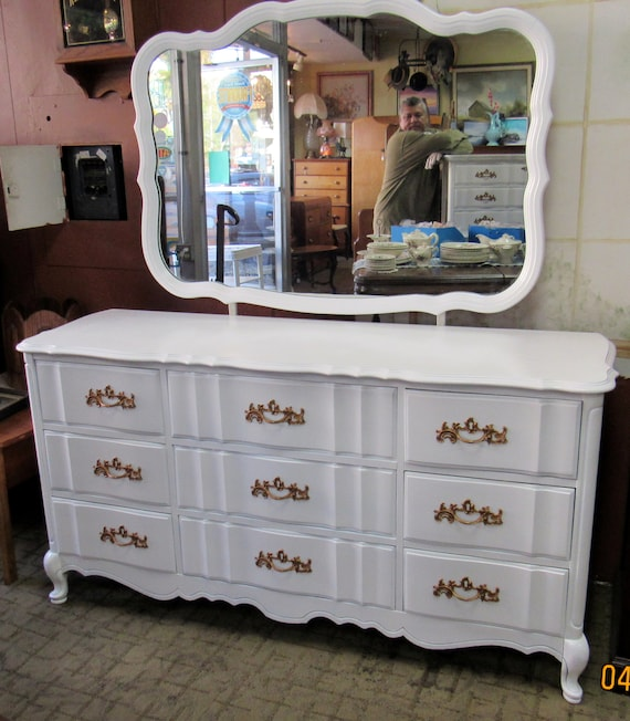 French Provincial Dresser and Mirror by Bassett