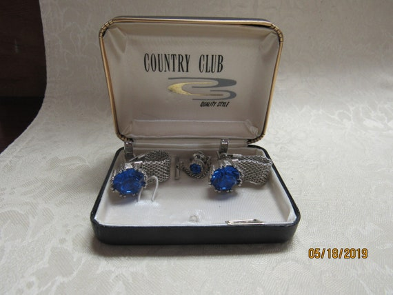 Vintage French cufflinks and tie clasp