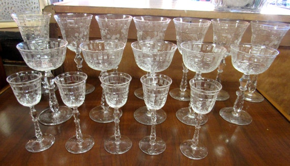 Vintage Crystal stemware glasses