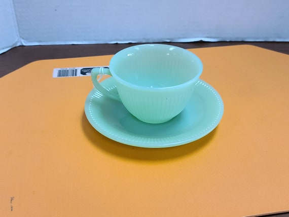 Vintage Fire King Jadite Jane Ray cup and saucer