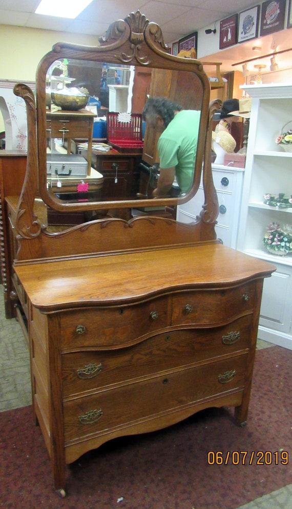 Tiger Oak Dresser with mirror