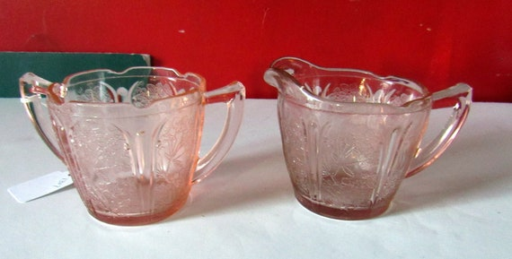 Cherry Blossom depression glass sugar and creamer