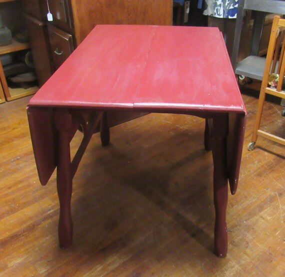 Red Drop Leaf kitchen table