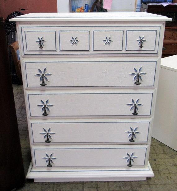 Vintage Stanley white and blue Dresser