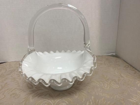 Fenton Silver Crest Reed Handled Basket
