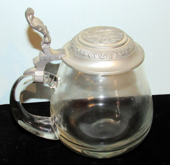 Antique Clear Glass Beer Stein with hinged pewter lid