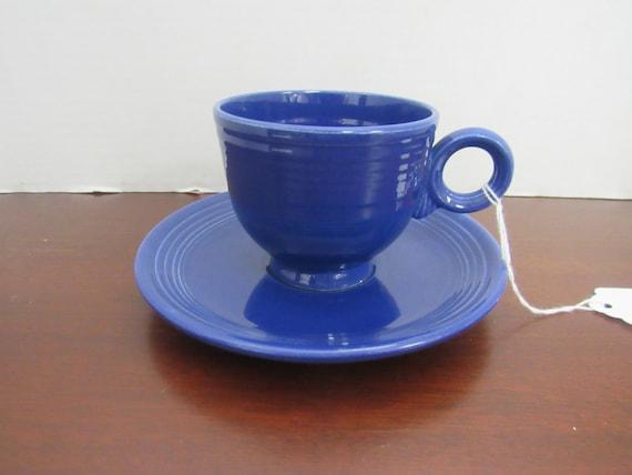 Fiesta cobalt blue cup and saucer
