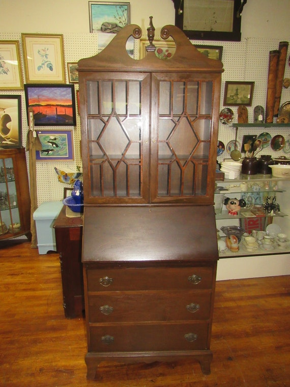 Secretary bookcase desk with drop front writing surface