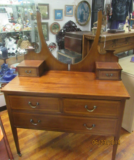 Inlaid mahogany vanity or wash stand perfect for sink conversion