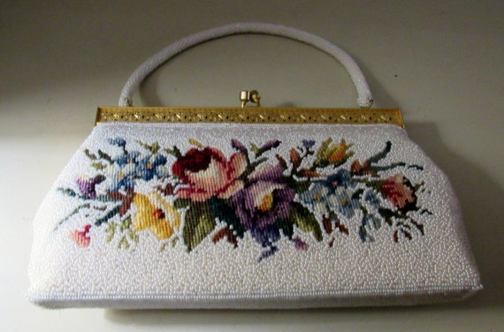 White bead and floral tapestry evening bag