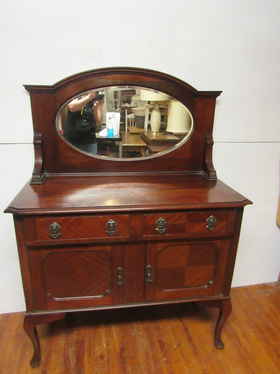 Washstand cabinet with mirror or small sideboard