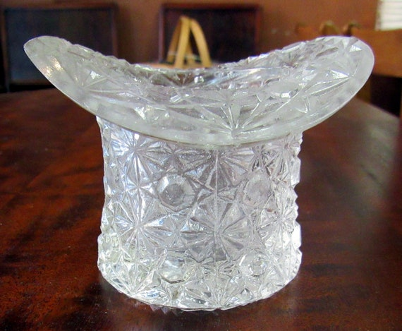 Clear carnival glass toothpick holder hap shaped