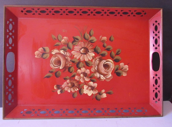 Vintage red floral metal tray