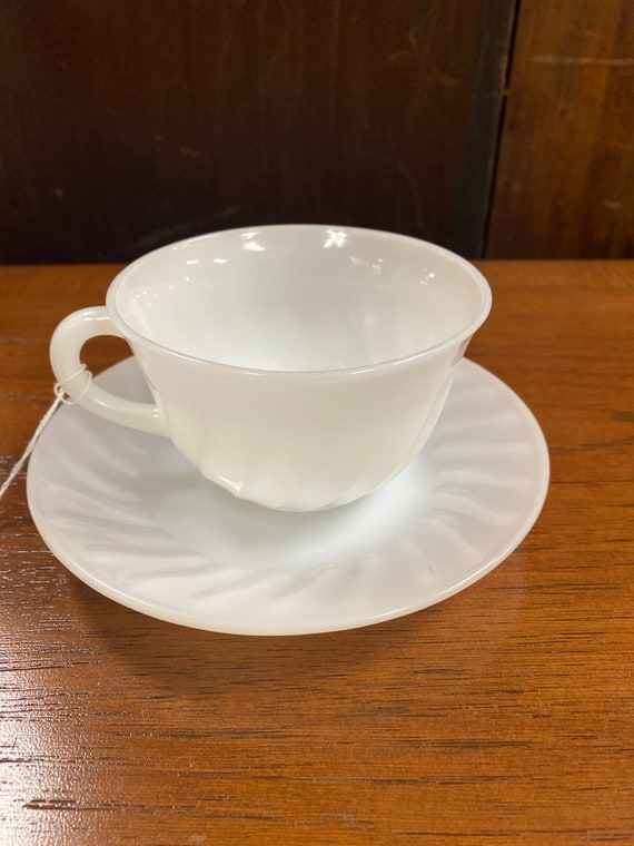 Fire king white swirl cup and saucer