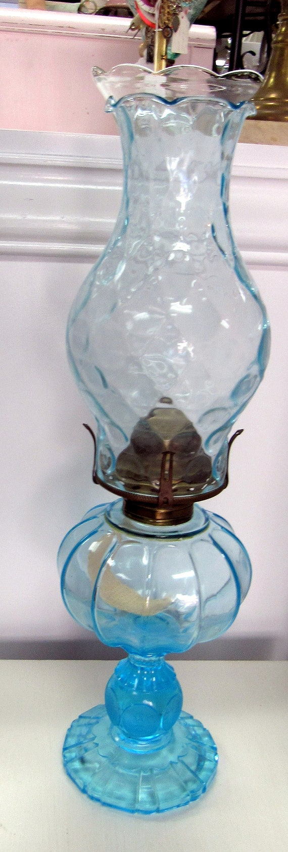 Antique blue oil lamp hurricane lamp pressed glass