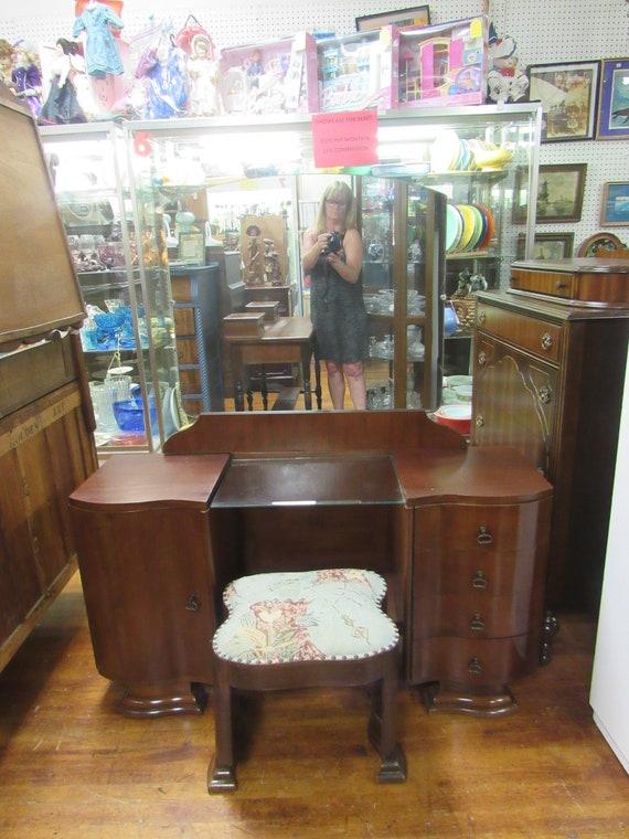 Art Deco Vanity, mirror and stool