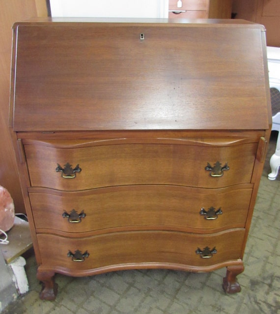 Mahogany dresser desk with drop front writing surface