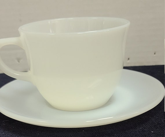 Fire King white ransom/ st denis pattern cup and saucer