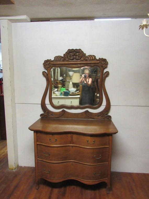 Tiger Oak Serpentine Dresser and Mirror